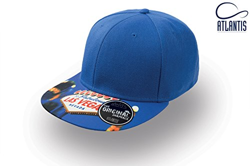 Cappello Cappellino 6 pannelli BLU ATLANTIS SNAP COLOUR stile rap visiera piatta con stampa LAS VEGAS sulla visiera Blu-snap