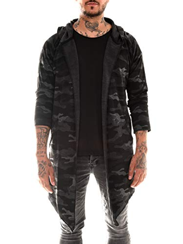 BAXMEN CULTWEAR Herren Cardigan Hoodie Destroyed Jacke Lang Strickjacke Hooded Long Sweatjacke Lang Vintage Slim Fit 18- Camouflage Large