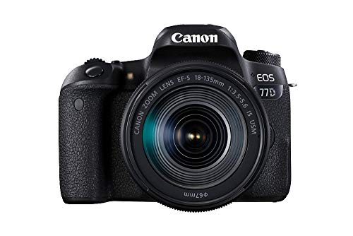 Canon EOS 77D DSLR Digitalkamera (24,2 Megapixel, 7,7 cm (3 Zoll) Display, APS-C CMOS Sensor, Full-HD) mit Objektiv EF-S 18-135mm F3,5-5,6 IS USM schwarz