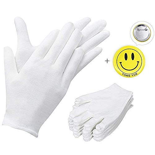 100% weiß Soft-Hand Baumwolle Feuchtigkeitsspendende Handschuhe Arbeitshandschuhe, extra groß, 12Paar
