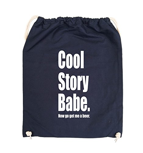Comedy Bags - Cool Story Babe now get me a beer - Turnbeutel - 37x46cm - Farbe: Schwarz / Silber Navy / Weiss