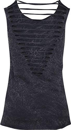 Urban Classics Damen Ladies Crinkle Wash Back Cut Top Schwarz (Black 7)