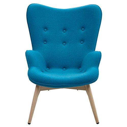 Designer Ohren-Sessel petrol mit Armlehnen aus Wolle blau | Anjo | Blauer Club-Sessel im Retro-Design mit Gestell in Holz | Moderner Wohnzimmer-Sessel auch als Relax-Sessel zu benutzen - 2