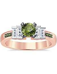 Silvernshine 1.35Ct Round & Buget Cut Peridot Sim Dimoands 14K Rose Gold Plated Engagement Ring