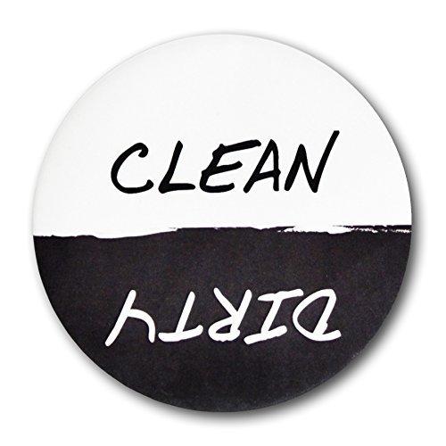 Vorteil-Reinigung Dirty Spülmaschine Magnet Schild, 7,6cm Durchmesser Schwarz & Weiß ()