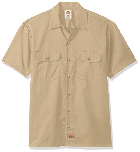 Dickies Herren Regular Fit Freizeit Hemd Shrt/S Work Shirt, Kurzarm, Beige (Khaki KH), Gr. Medium (Herstellergröße: M) (Khaki Entspannt Fit)