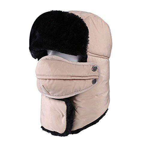 Z-P Winter Unisex Classical Outdoor Sports Riding Climbing Snow Mountains Ski Snowboarding Warm Windproof Masks Cold-proof Water-proof Earflaps Neckerchief Hat (Lambswool Angora)