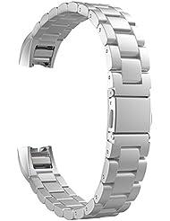 MoKo Fitbit Alta / Alta HR Correa - Reemplazo SmartWatch Band de Reloj Acero Inoxidable con Doble Botones Plegable Accesorios para Fitbit Alta / Alta HR Smart Fitness Tracker ( NO INCLUYE MARCO ), Plata