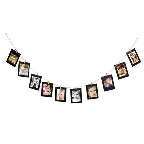 PIXNOR 10pz foto Cornice di Kraft carta Album Portafoto fai da TE con Corda di Iuta e 10 Mollette Appeso Decorazione di Festa Matrimonio e Compleanno (Nero)