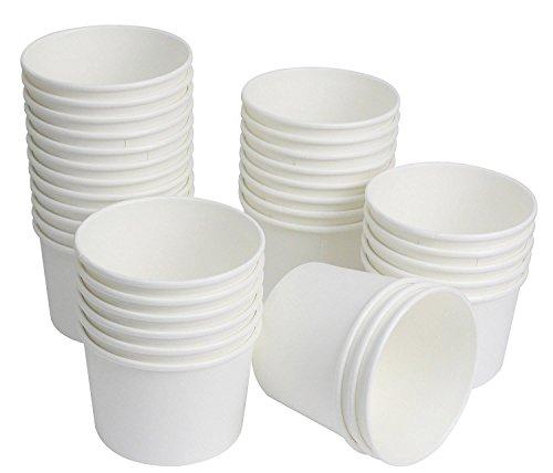 25Count Einweg Hot und kalten Speisen Aufbewahrung Papier Container, strapazierfähig Eis Creme Tassen für gefrorenen Desserts, heiße Suppen, oder, Lebensmittel Sie wollen, Papier, weiß, 8 ounce - Papier-lebensmittel-container