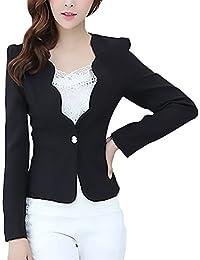 Giacca da Tailleur Donna Manica Lunga Slim Fit con Button Monocromo Casuale Donne  Blazer Festivo Eleganti 632db6daf14