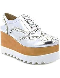 Toocool - Scarpe donna francesine mocassini zeppa sneakers stringate Queen  Helena X17-14 f8c45442afde