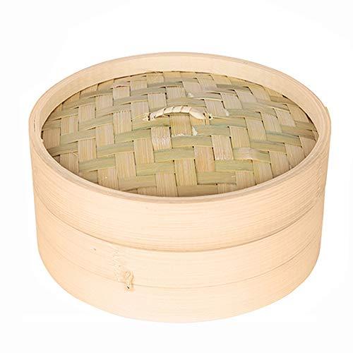 Cikuso Una Gabbia E Una Copertura di Cottura di Bambu\' A Vapore Pesce Riso Verdura Snack Carrello Impostato Utensili da Cucina, L