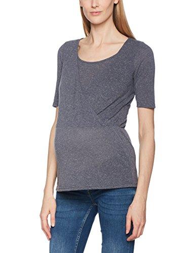 Mamalicious Mlzana Tess 2/4 Jersey Top Nf V, T-Shirt de Maternité Femme Bleu (Ombre Blue)