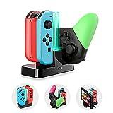 ECHTPower 6 in 1 Nintendo Switch Joy-Con Ladestation Ladegerät, Switch Pro Controller Ladestation mit LED-Anzeige und USB Typ C Ladekabel