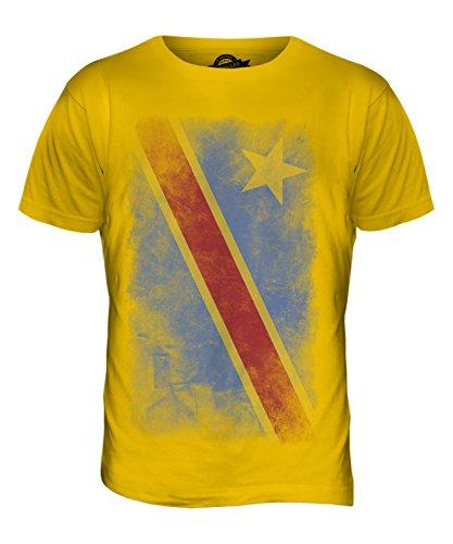 CandyMix Demokratische Republik Kongo Verblichen Flagge Herren T Shirt Dunkelgelb