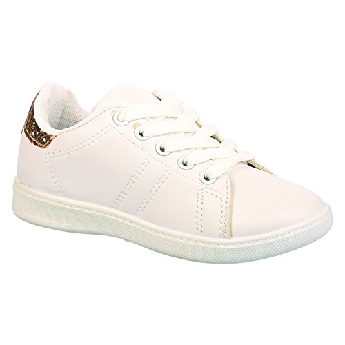 ByPublicDemand Lois Bambina Bambini scarpe da ginnastica Stringate - Bianco / Oro 36