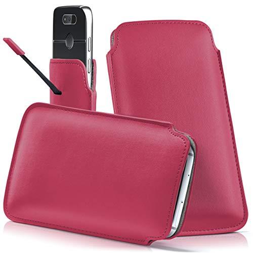 moex Emporia Flip Basic | Hülle Pink Sleeve Slide Cover Ultra-Slim Schutzhülle Dünn Handyhülle für Emporia Flip Basic Case Full Body Handytasche Kunst-Leder Tasche