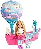 Barbie Dreamtopia mini-poupée Chelsea et son Voilier des Rêves avec ballon en tissu imprimé nuages et figurine de chiot, jouet pour enfant, DWP59
