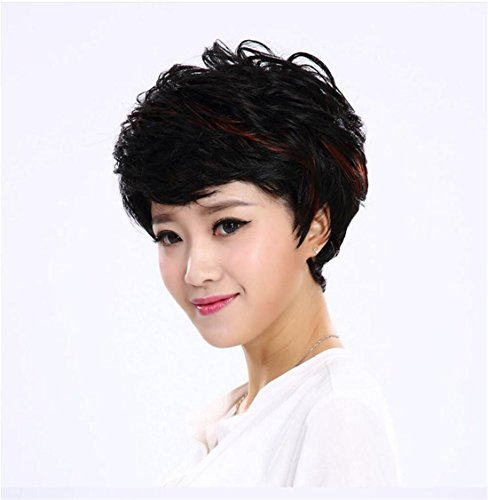 Meydlee Synthetische Schicht lockiges Haar-Perücke für Mode Frauen Schwarz mit Highlight-Rot natürlich wie (Haar Lockige Synthetische)