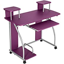 tectake mesa de ordenador de escritorio juvenil estudiante pc trabajo muebles prpura