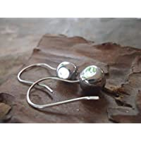 ✿ pietre nere ARGENTO ✿ orecchini con gancio lungo
