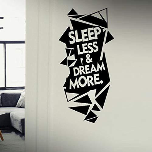 yaoxingfu Sleep Less & Dream More Quote Motivation Wandaufkleber Für Sport Gym Vinyl Wandtattoos Fitness Poster Murals rot 57X121 cm