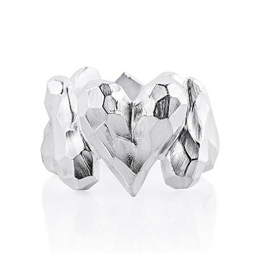 Drachenfels Luxus Damen Bandring Silber aus der Kollektion Heartbreaker | Faszinierender Herz Ring | Edler Designer-Schmuck, Designer-Ring | D HE 12/AG