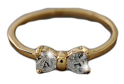 SaySure - Austria Crystal rings Gold Plated finger Bow ring (SIZE : (Cameo Bow)