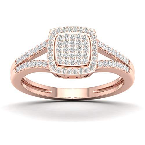 10CT Rose Gold Diamond Engagement Ring Size 8.5 (SI2,H-I) (Gold Rose Diamond 10k Ring)