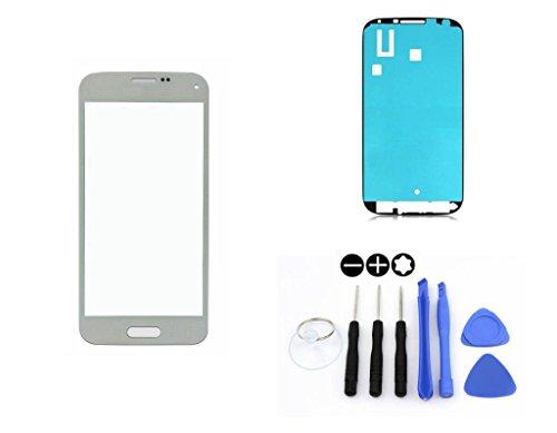 R.P.L. FRONTGLAS SET passend für SAMSUNG Galaxy S5 mini Weiss White G800 / Frontglas / Glas / Displayglas / LCD Reparatur / LCD Display / Klebefolie / Glass Replacement / 8 - Teiliges Werkzeugset TOOLS (S5 Für Weiße Lcd Samsung Galaxy)