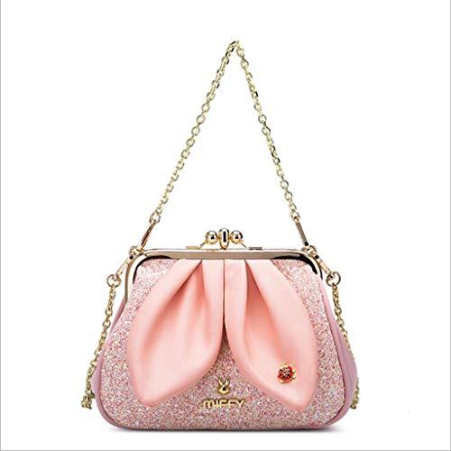 MYYDD PU Leder Handtaschen Mädchen Kleine Tasche Kette Geschleudert Schultertasche Kaninchen Ohr Gold Beutel Schale ()