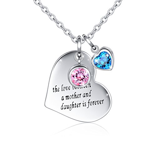 Silver Mountain Halskette mit Herz-Anhänger Sterling-Silber 925 Gravur The Love Between A Mother and Daughter is Forever 45,7 cm