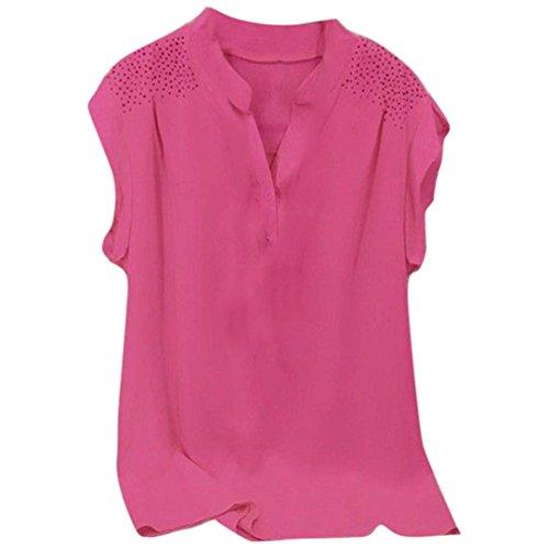 JUTOO Frauen Damen Kurzarm Bluse Pullover Tops Shirt(Hot Rosa,EU:50/CN:4XL)