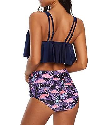 Durio Bikini High Waist Damen Zweiteiliger Bikini Set Hohe Taille Bikinihose mit Langem Volant