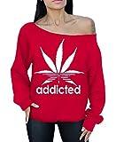 awkwardstyles Addicted hojas de color blanco apagado el hombro Slouchy Jersey sudadera