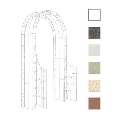 CLP Eisen-Rosenbogen SINA mit Eingangspforte I Torbogen mit stilvollen Verzierungen I Rankhilfe im Landhausstil I erhältlich Weiß -