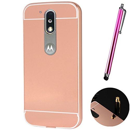 Funda Espejo Aluminio Metal Carcasa para Motorola Moto G4 / G4 Plus Color Rosado