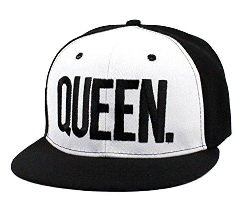 Nanxson (TM) Unisex Männer Damen Baseballcap Sport Buchstabe Druck verstellbar Sonnenhut Kappe MZM0049 (Weiß Queen) (Hut Herren Krempe Breite Wolle)