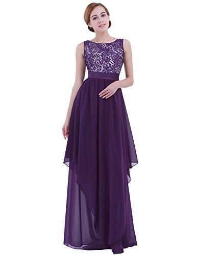 Tiaobug Elegante Damen Kleider festliche Cocktail Hochzeit Abendkleid lange Kleider 36/38 40 42 44/46 48 50 (EU 50 (Herstellergröße: XXXL), Dunkel Lila)