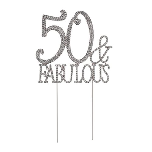 Toyvian Strass Kristall 50. Geburtstag Kuchen Cupcake Topper FABELHAFTE Kuchen Dekorationen Für 50. Geburtstag Jubiläum Partydekorationen Liefert (Silber)