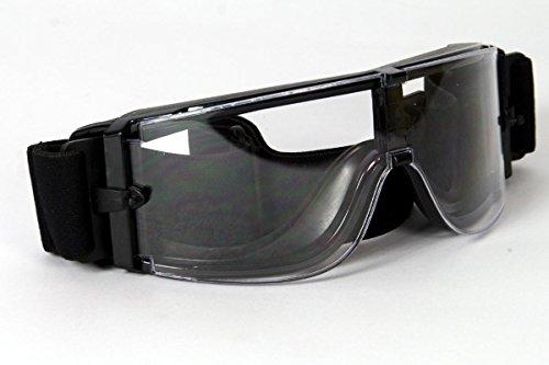 Qubeat Motorradbrille schwarz, klare Gläser