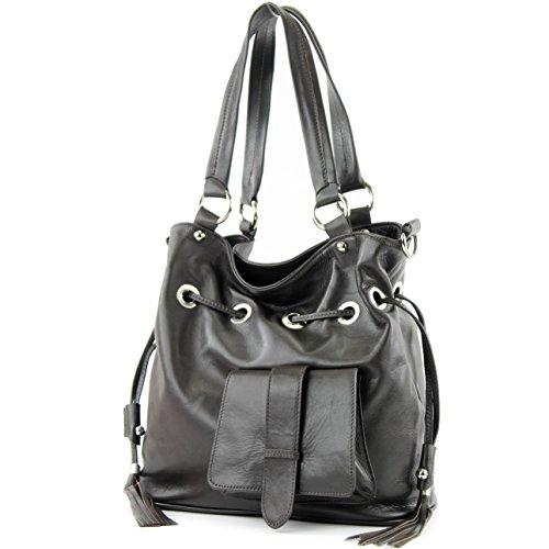 modamoda de - ital. Ledertasche Damentasche Handtasche Schultertasche Nappaleder DS53 Dunkelbraun