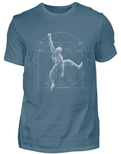 Bouldernder Kletternder vitruvianischer Mensch - für Boulder und Kletter-Felsen Fans - Herren Shirt -M-Steinblau
