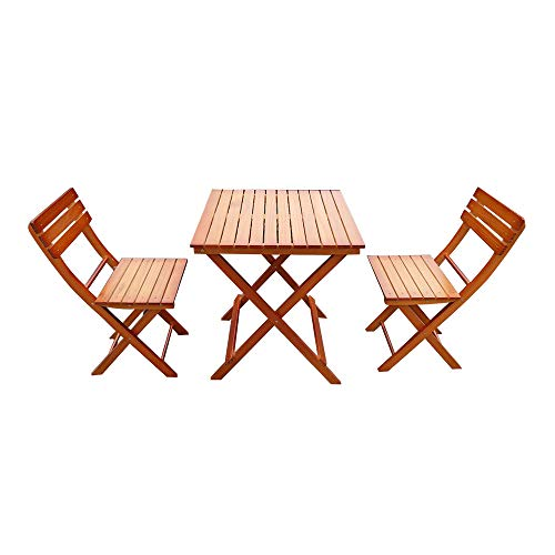Panana-B Wooden 2 Seater Patio Set Folding Table and Chairs Bistro Conservatory Outdoor Garden Balcony Dining Furniture Set Natural