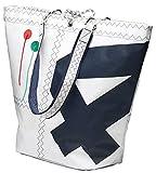 Sea Girl Einkaufstasche, Weiß/Marineblau aus Segeltuch, Shopping Bag