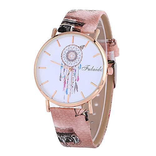 DressLksnf Reloj Moda para Mujer Pulsera del Reloj Metal Durable Brazalete de Reloj Bonito Cadena de Cuero Imprimiendo Elegante Superficie de Estampado Patrón Atrapasueño Original