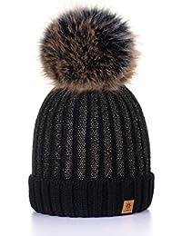 MFAZ Morefaz Ltd Winter Cappello Cristallo Grand Pom Pom Invernale di Lana  Berretto delle Signore delle e1c875f7e906