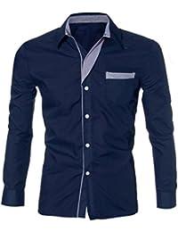 Sonnena Homme Mode de luxe à manches longues Décontracté fin à élégante Robe Chemises M bleu marine