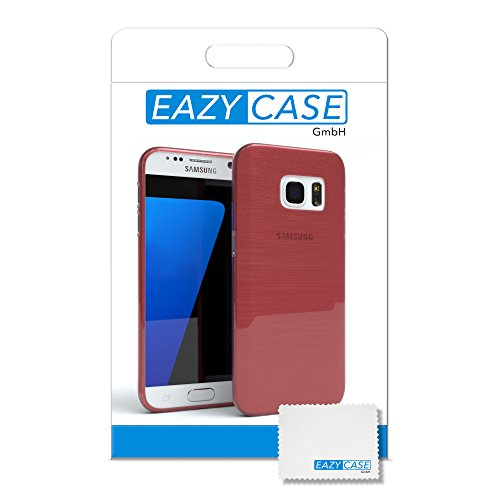 "EAZY CASE Handyhülle für Samsung Galaxy S7 Hülle - Premium Handy Schutzhülle Slimcover ""Brushed"" Aluminium Design - TPU Silikon Backcover in brushed Hellblau Brushed Rosa"